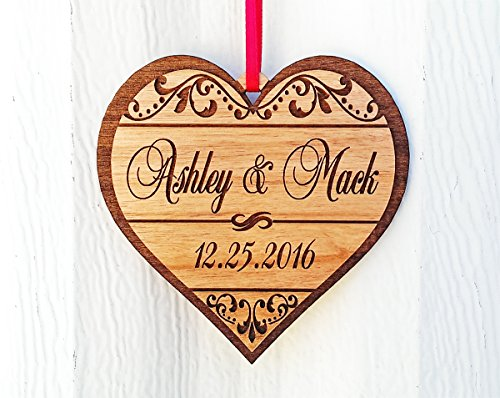Ornament Wedding Favor (Personalized Heart Love Christmas Ornament Gfit for Anniversary, Valentines Day, Christmas, Pet, Engagement, Babys First, Couples Mom Dad, Fiance, Wedding)