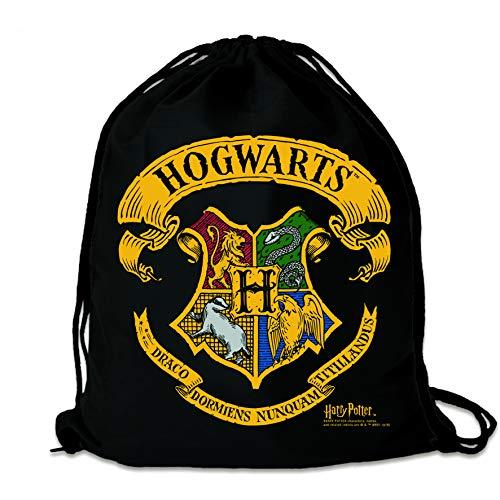 Logoshirt - Harry Potter - Hogwarts - Logo - Sportbeutel - Turnbeutel - schwarz - Lizenziertes Original Design