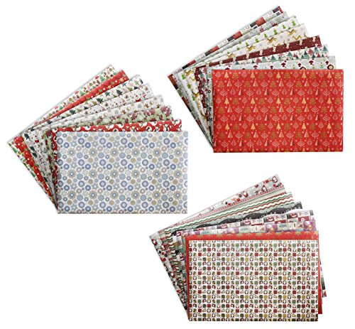 27.5 x 17.2 Inches Gift Wrapping Papers - 24-Pack Christmas Wrapping Paper Set, Xmas Paper Sheets, Great for Wrapping Presents for Birthdays, Holiday, Baby Shower, 24 Designs, 2.3 x 1.43 Feet