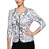 Alex Evenings Women's Formal Zip Jacket with Detail, White/Black, XL