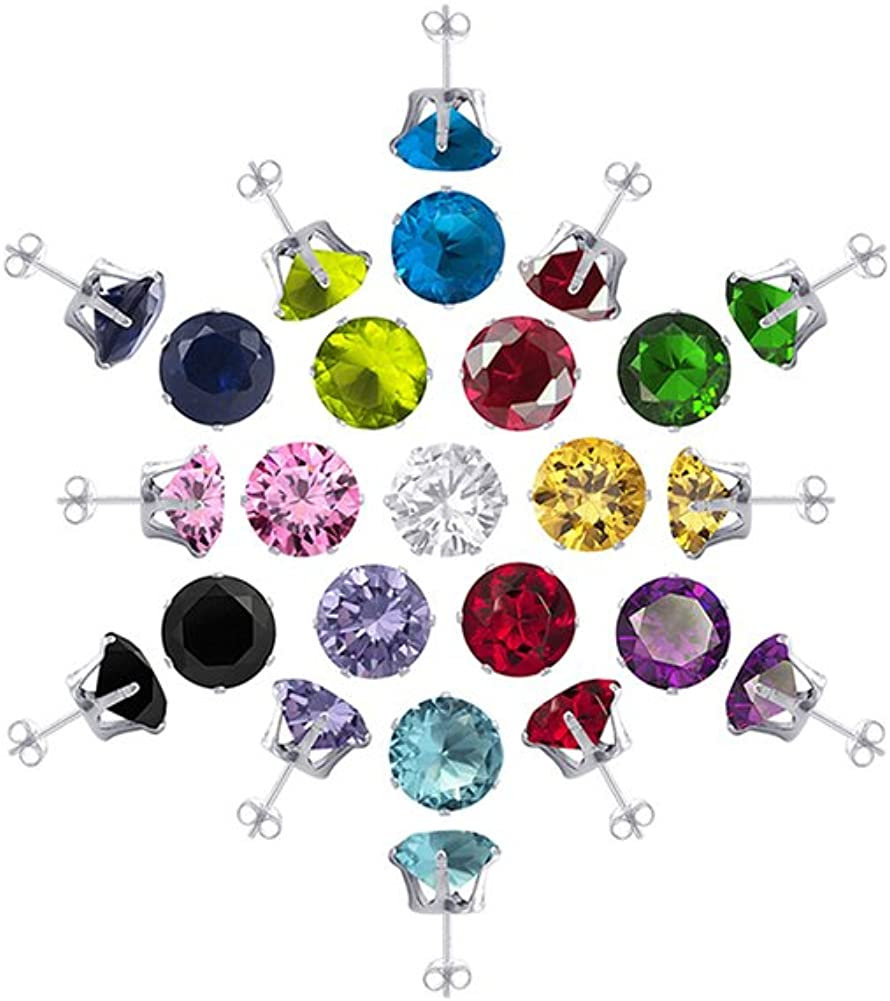 Sterling Silver 4mm Round Birthstone Stud Earrings for Women Set of 8 Colors with Post Back Findings