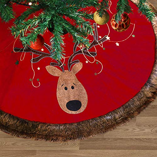 Valery Madelyn 48 Luxury Red Gold Christmas Tree Skirt with Reindeer and Faux Fur, Themed with Christmas Ornaments (Not Included)