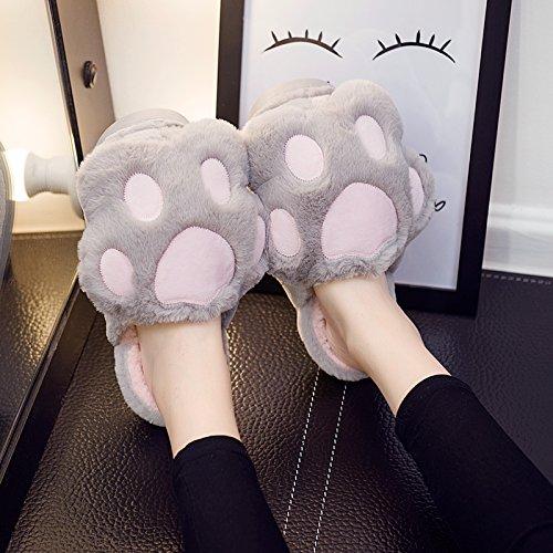 Fankou carino pantofole di cotone femmina cartoon inverno soggiorno anti-slittamento stereo spessa cat claw pantofole di cotone ,40-41,A- Grigio Chiaro