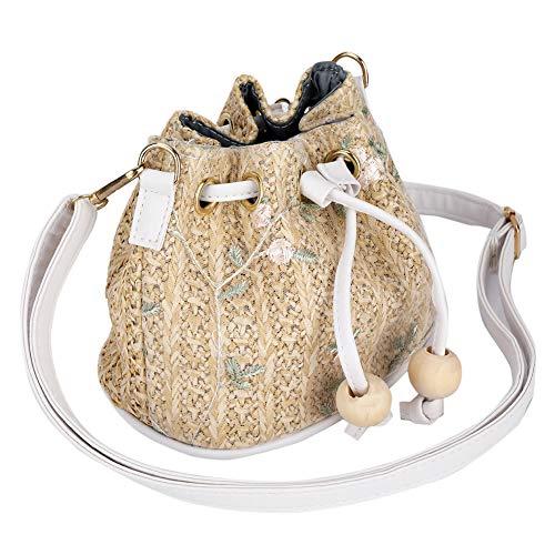 (GLOGLOW Single Shoulder Bag,Lace Straw Woven Messenger Bag PU Single Shoulder Bag Bucket Bag Messenger Bag (Khaki))