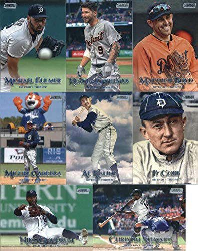 2019 Topps Stadium Club Baseball Detroit Tigers Team Set of 8 Cards: Nicholas Castellanos(#105), Michael Fulmer(#125), Miguel Cabrera(#138), Matthew Boyd(#163), Christin Stewart(#168), Niko Goodrum(#190), Ty Cobb(#215), Al - Detroit Tigers Team