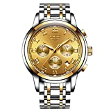 Affute Gold Luxury Analog Quartz Dress Wrist Watches for Men with Date Chronograph Stainless Steel Band
