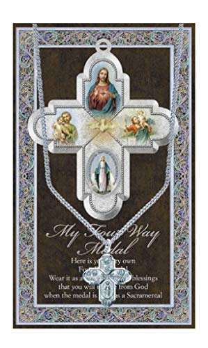 Four Way Cross Pendant Medal Pewter on 18 Stainless Steel Chain with Prayer Card