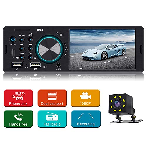 4.1 Inch Car Stereo MP5 Player Single Din Car Stereo with handsfree Call Car Radio Audio Support Steering Wheel Control Rear View Camera Support USB AUX in, TF Card