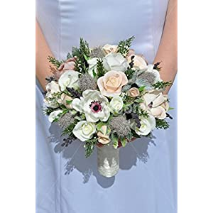 Gorgeous Artificial Peach Rose, Anemone and Thistle Bridal Bouquet w/ Heather 31
