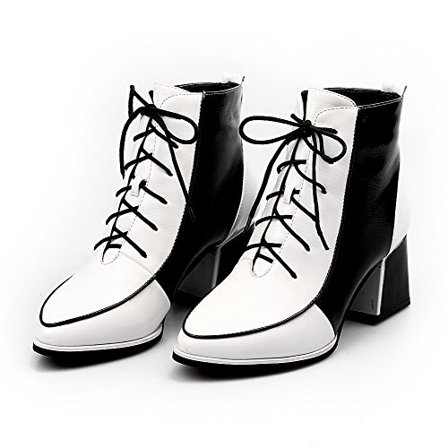 Color 5 Boots Closed with Platform B Kitten Patent PU Leather M Assorted Round AmoonyFashionWomens Heels Toe White US 6Pqw5ZzvWx