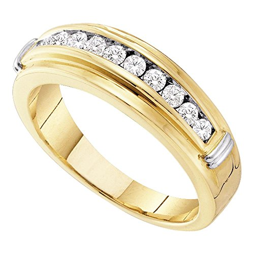 14k Mens Diamond Rings - 14k White Yellow Gold Mens Diamond Wedding Band Engagement Ring Round Channel Two Tone 1/2 ctw Size 9.5