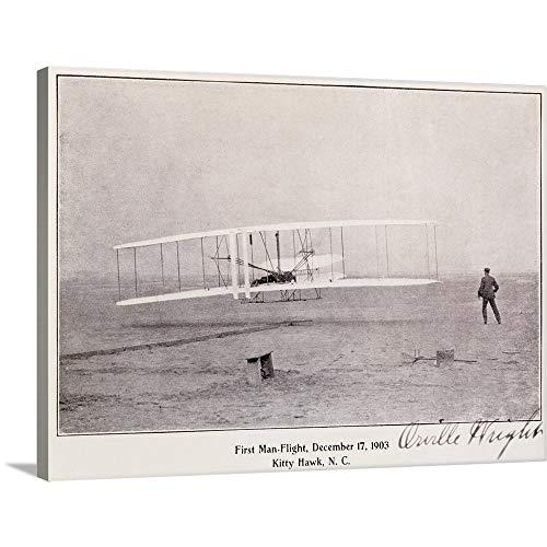 - Wright Brothers Flight at Kitty Hawk Vintage Photograph Canvas Wall Art Print, 24