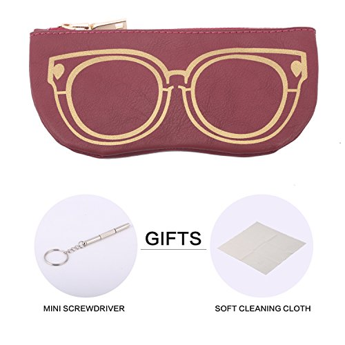 Bertha Premium Eyeglasses | Sunglasses Pouch Collection | 100% | Pack of 1pc | (Dark Red)