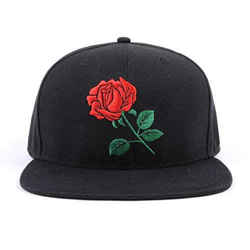 Flat Bill Snapback Hats (Black, Rose Floral) Women Men Adjustable Baseball - Floral Men's Snapback