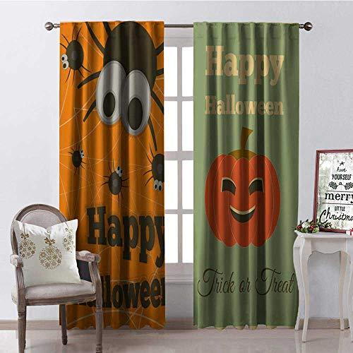 Hengshu Happy Halloween Bless g Illustration Room Darkening Wide Curtains Waterproof Window Curtain W108 x -