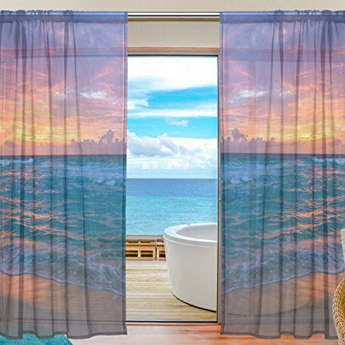 ALIREA Sea Surf Sunrise Waves Sand Ocean Beach Sheer Curtain Panels Tulle Polyester Voile Window Treatment Panel Curtains For Bedroom Living Room Home Decor, 55x84 inches, 2 Panels (2 Surf Net)