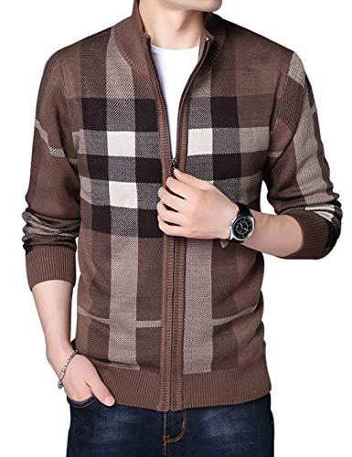 [해외]젠 쿤 남성 클래식 격자 무늬 풀 지퍼 니트 울 혼 방 카디 건 스웨터 / Jenkoon Mens Classic Plaid Full Zip Knitted Wool Blend Cardigan Sweaters