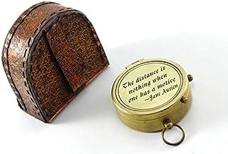 Roorkee Instruments (INDIA) La Distance n'est rien quand une A une Citation de Motive Laiton massif Boussole W/Housse en Cuir Roorkee Instruemnts