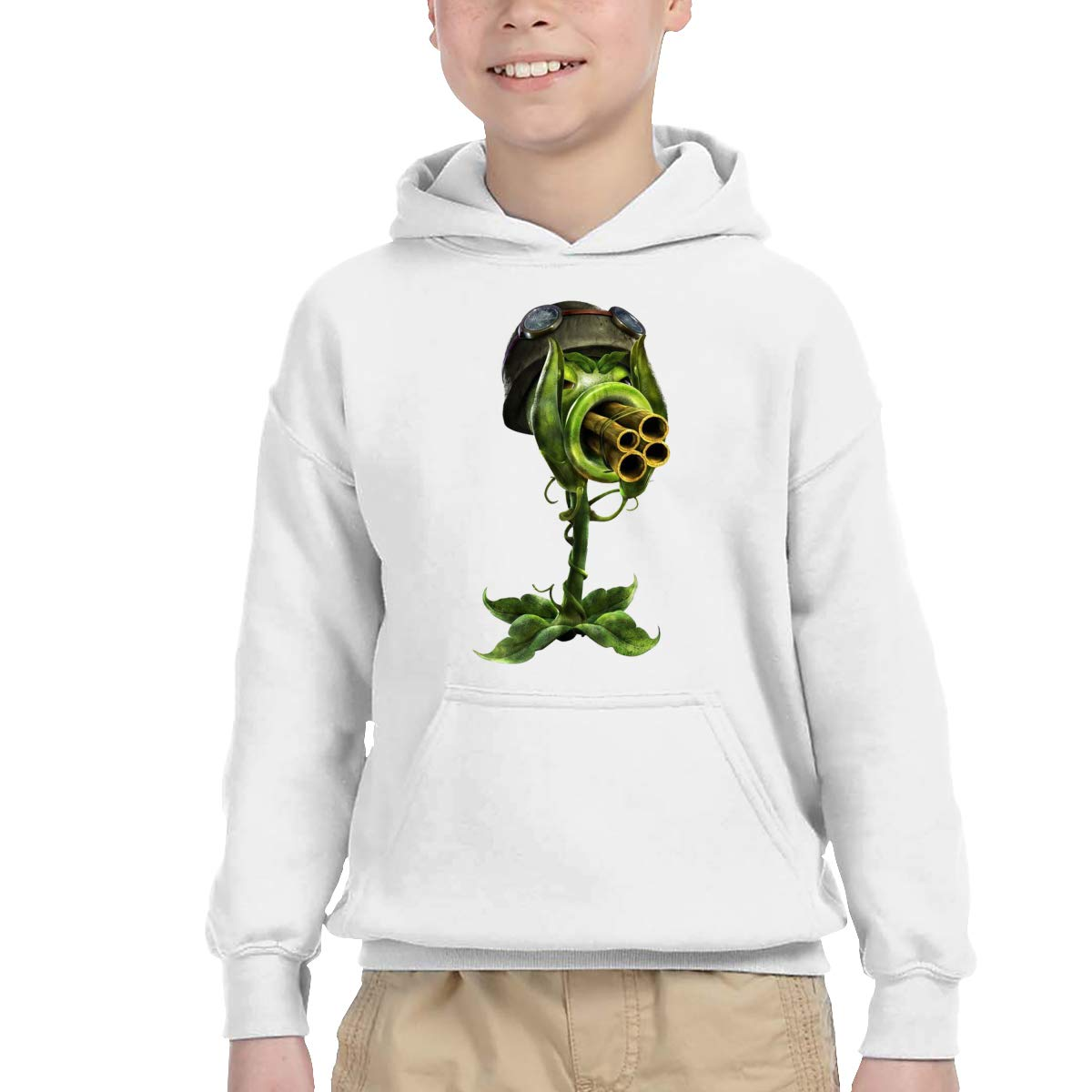 Zombies Childrens Hooded Pocket Sweater Unisex for Boys//Girls//Teen//Kids Black CiXianFuLu Halloween Plants Vs