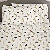 4 Piece Deep Pocket Brown Tan White Cal King Sheet Set, Dog Pattern Themed Flannel Bedding Cozy Shabby Chic Warm Heavyweight Pretty Trendy Rich Fun Soft Comfortable Holiday Christmas Animal, Cotton