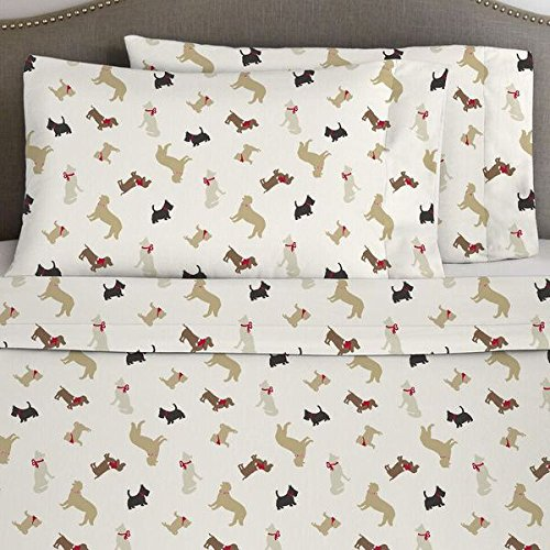 4 Piece Deep Pocket Brown Tan White Cal King Sheet Set, Dog Pattern Themed Flannel Bedding Cozy Shabby Chic Warm Heavyweight Pretty Trendy Rich Fun Soft Comfortable Holiday Christmas Animal, Cotton by N2