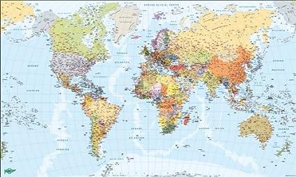 Faibo 203738 - Mapa del Mundo, metálico, 84 x 140 cm: Amazon.es ...