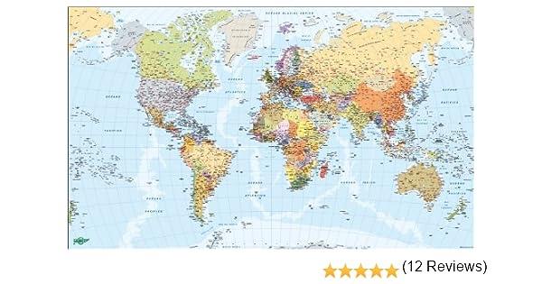 Faibo 203738 - Mapa del Mundo, metálico, 84 x 140 cm: Amazon.es: Oficina y papelería