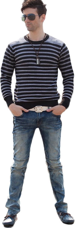 ADS Men's Casual Cotton Broken Stripe Crew Neck Pullover Sweater Asia Size