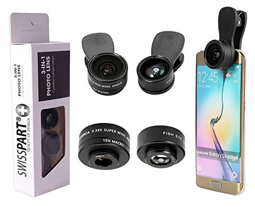 Cell Phone Camera Lens Kit 3 in 1 + Two Universal Clip On adapter 180° Fisheye 15x Macro 0.36x Super Wide For iphone Samsung Galaxy - Definitions Parts Eye And