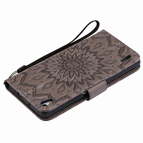 Yiizy Huawei Ascend P7 Custodia Cover, Sole Petali Design Sottile Flip Portafoglio PU Pelle Cuoio Copertura Shell Case Slot Schede Cavalletto Stile Libro Bumper Protettivo Borsa (Grigio)