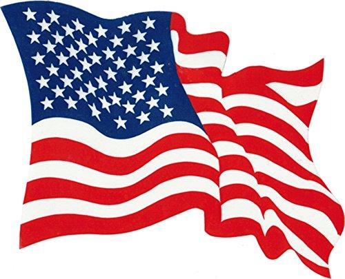 (Waving USA Flag - Red, White & Blue - Reverse Reading Window Sticker )