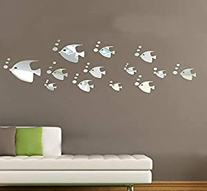 Alrens 13pcs Cute Fish Small Bubbles DIY Mirror Effect 3D Wall Stickers Home Decoration Living Room Bedroom Bathroom Decor Kid's Room Glow in The Dark Stars
