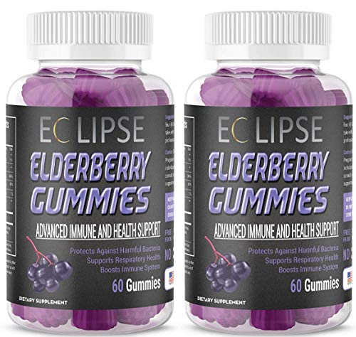 (2-Pack) Elderberry Gummies for Immune Boosting Support – with Vitamin C + Zinc – for All Ages – Made in The USA