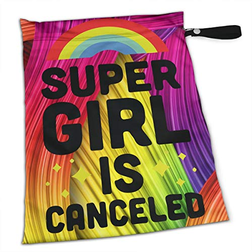 NIAOBUDAI Supergirl is Canceled Baby Wet and Dry Cloth Diaper Bags, Nappy Organizer Bag, Multipurpose Travel Packing Organizer Bags for Swimsuit, Underwear, Washable & Reusable
