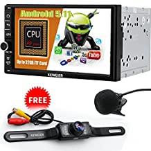 """GPS Navigation car dvd Android 5.1 KEWEIER 7"""" Lollipop Double 2 Din Car Stereo Quad Core 1024*600 Muti-Touch Screen GPS Navigation Head Unit Bluetooth GPS AM/FM Radio Receiver with Backup Camera"""