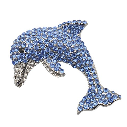 TTjewelry Beautiful Charming Blue Dolphin Fish Silver-Tone Brooch Pin Rhinestone ()