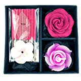 Incense & Candle Gift Set, Rose Scent, Pink Color – Great for Spa Parties