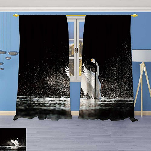 (SOCOMIMI Twigs Fashion Design Print Thermal Insulated Blackout Curtain swan RIS from Water and Splash Silvery Water Drops Around with Tops for Bedroom 72W x 72L inch)