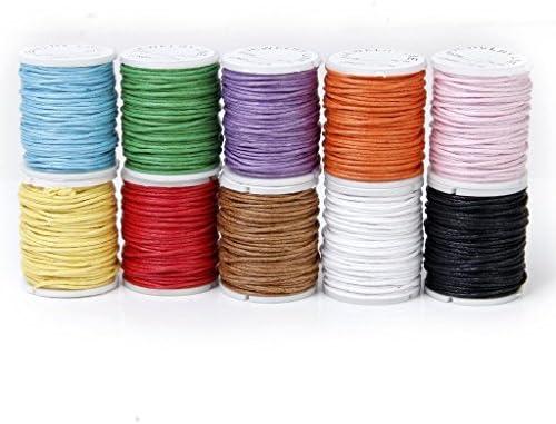 TOOGOO(R) 10 Rollos Hilo De Algodon Cuerda Encerado De Mezclamiento Del Color Para Cadena De Cuentas 1mm: Amazon.es: Juguetes y juegos