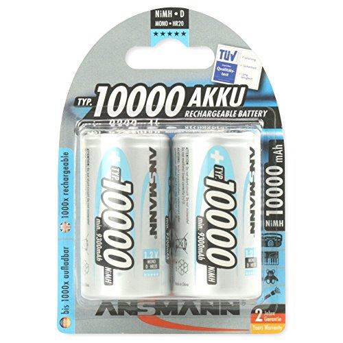 ANSMANN Mono D Akku Typ 10000 (min. 9300mAh) hochkapazitive Profi NiMH Monozelle für Digital Foto Akkubatterie 2er Pack