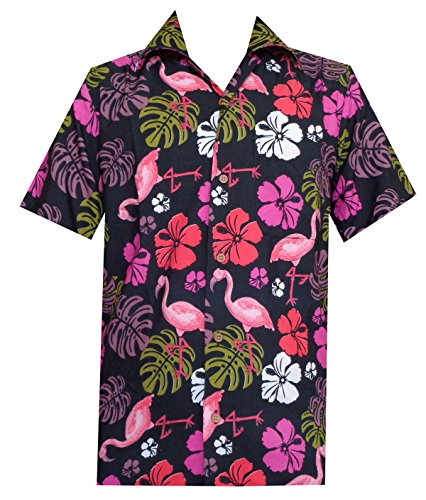 Hawaiian Shirt 37 Mens, Flamingo Leaf Print Beach Aloha Party Casual Mens Shirt (Color: Black/Size: L)
