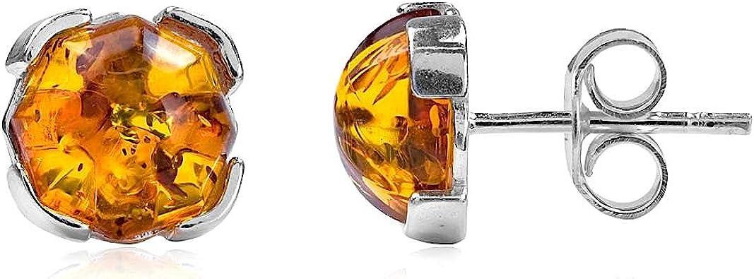 925 Sterling Silver Genuine Baltic Amber Stud Earrings