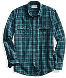 Goodthreads Men's Standard-Fit Plaid Twill Shirt, Black Caviar, Small