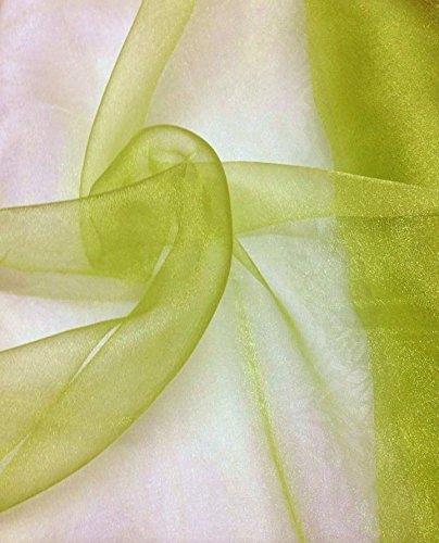 "mds Pack of 1 Yard Bridal SOLID Sheer Organza Fabric Bolt for Wedding Dress,Fashion, Crafts, Decorations Silky Shiny Organza 44""- apple green"