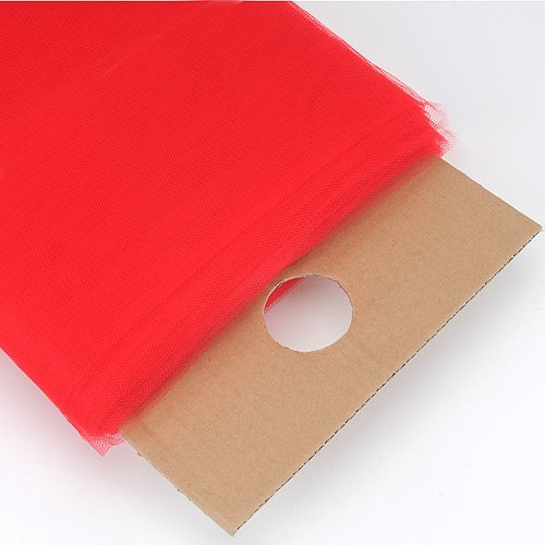 BBCrafts 54 Inch Premium Tulle Fabric Bolt (W: 54 inch | L: 40 Yards) (Red) (Tulle Red Bolt)