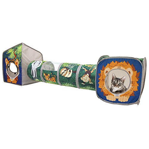 Kitty City Pop Open Jungle Combo,Collapsible Cat Cube, Play Kennel, Cat Bed, Tunnel, Cat Toys