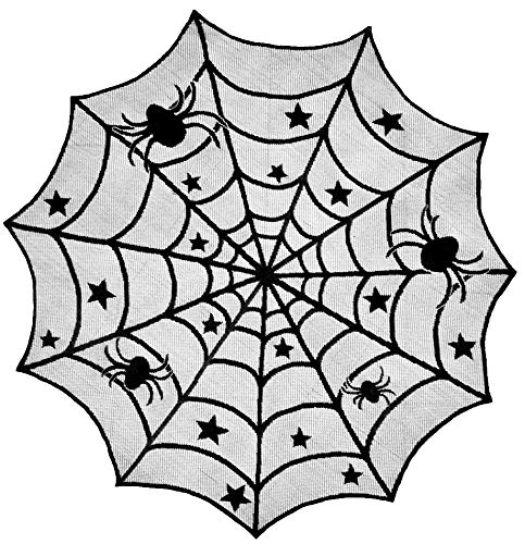 40 Inch Halloween Spider Web Lace Tablecloth Runner Black Round Party Decoration Small