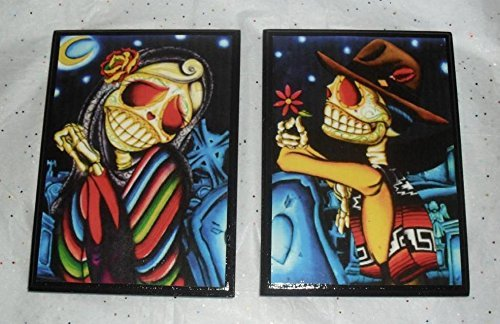 (Day of the Dead Sugar Skull Wall Plaques Decor Art Hangs set of 2)