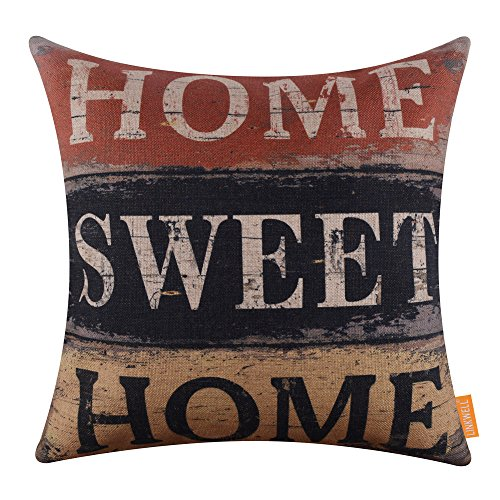 LINKWELL 18x18 inches Vintage Words Home Sweet Home Burlap Throw Pillowcase Cushion Cover - Vintage Sweet