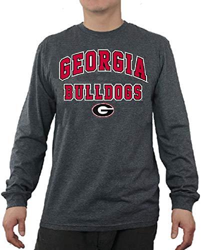 Elevation 5 NCAA Men's Over Under Grey Long Sleeve T Shirt (Large, Georgia Bulldogs)